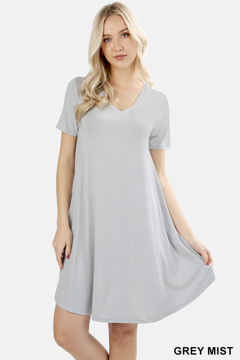 V-NECK POCKET SHORT SLEEVE ROUND HEM A-LINE DRESS - Zenana Outfitters Women's Clothing