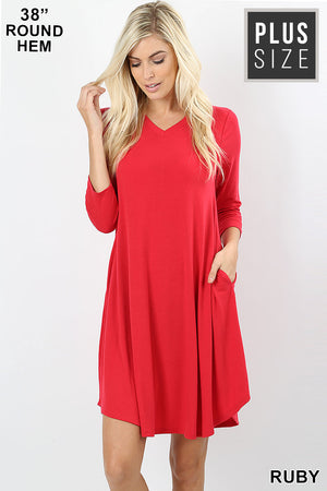 PLUS ROUND HEM A-LINE DRESS WITH SIDE POCKETS - Zenana Outfitters Women's Clothing