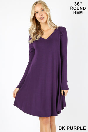 ROUND HEM A-LINE DRESS WITH SIDE POCKETS