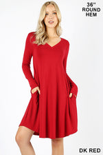 ROUND HEM A-LINE DRESS WITH SIDE POCKETS - Zenana Outfitters Women's Clothing