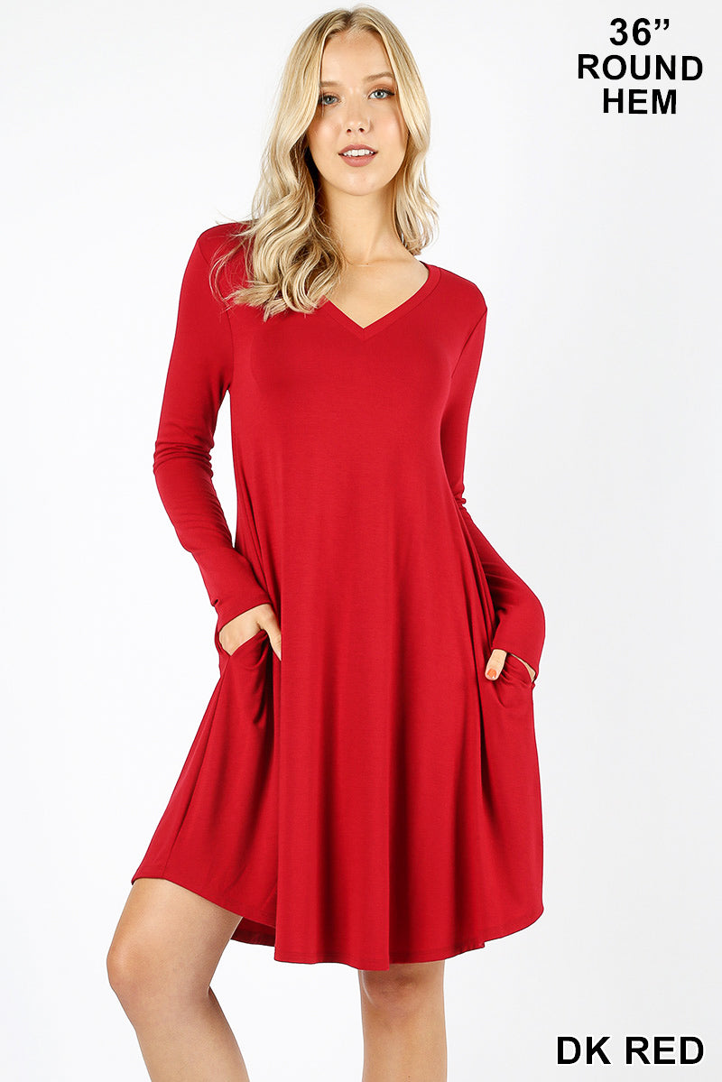 PREMIUM FABRIC V-NECK LONG SLEEVE ROUND HEM A-LINE DRESS WITH SIDE POCKETS - Zenana Outfitters Women's Clothing
