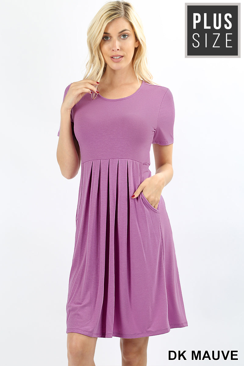 PLUS PREMIUM PLEATED WAIST SHORT SLEEVE DRESS - Zenana Outfitters Women's Clothing