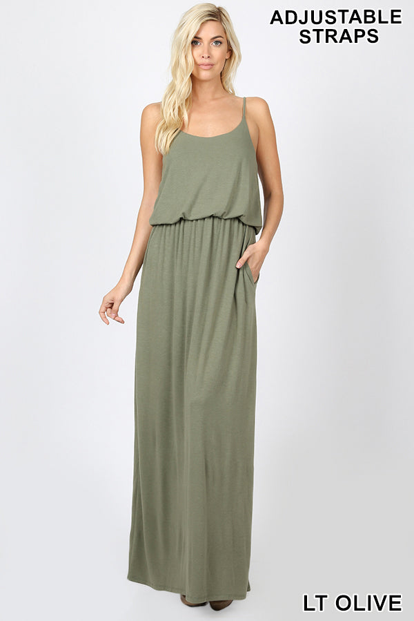 PREMIUM ADJUSTABLE STRAP TOP TWO LAYER MAXI DRESS | Zenana Outfitters
