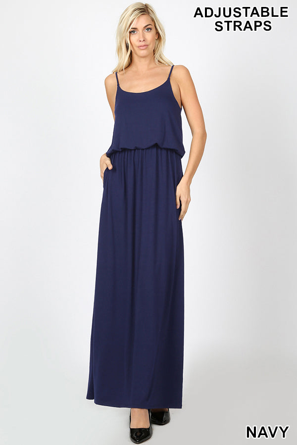 ADJUSTABLE STRAP TOP TWO LAYER MAXI DRESS - Zenana Outfitters Women's Clothing