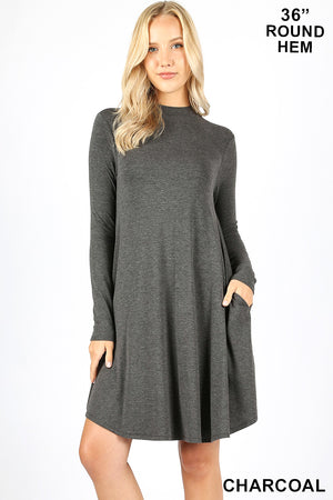 PREMIUM MOCK NECK LONG SLEEVE DRESS POCKETS - Zenana Outfitters Women's Clothing