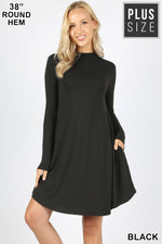 PLUS PREMIUM MOCK NECK LONG SLEEVE DRESS POCKETS