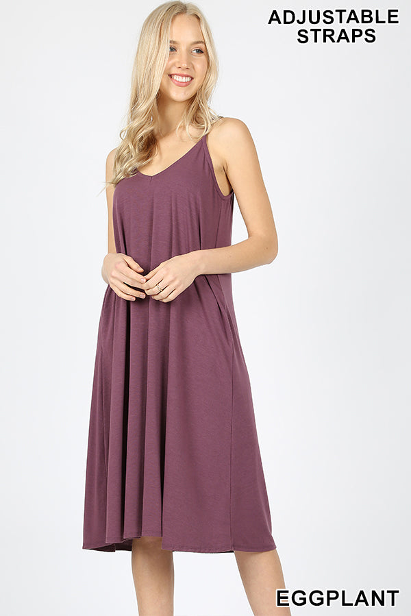 PREMIUM FABRIC V-NECK CAMI KNEE LENGTH DRESS - Zenana Outfitters Women's Clothing