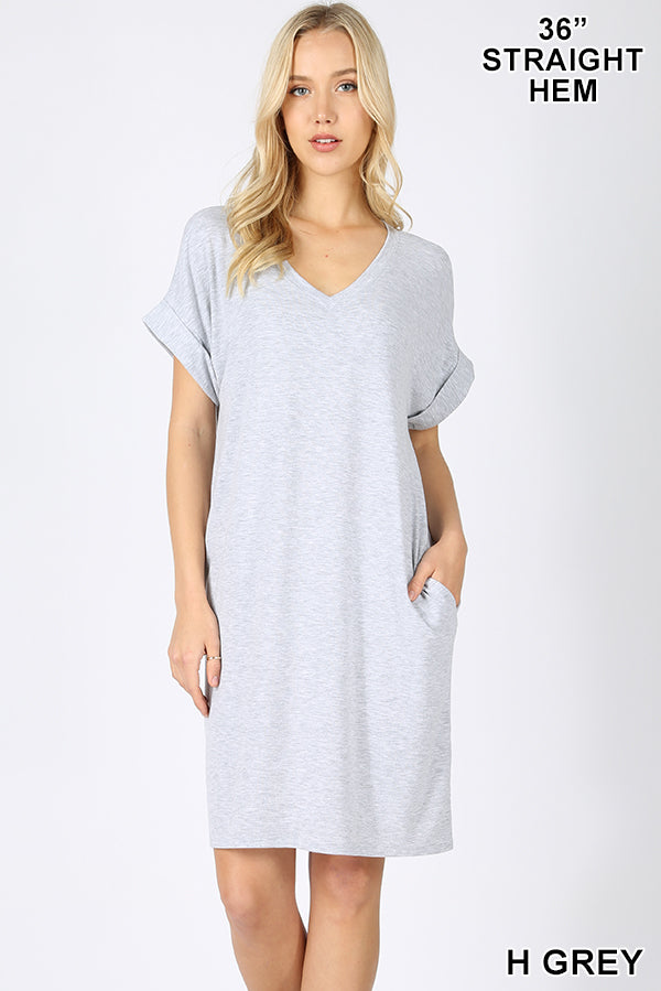 PREMIUM ROLLED SHORT SLEEVE V-NECK DRESS - Zenana Outfitters Women's Clothing