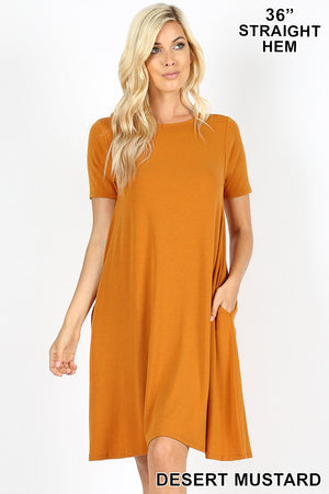 SHORT SLEEVE FLARED DRESS WITH SIDE POCKETS