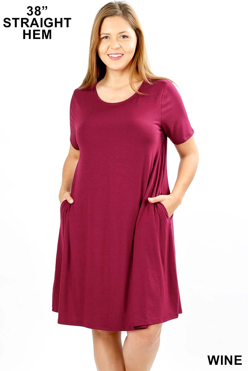 PLUS SHORT SLEEVE FLARED DRESS WITH SIDE POCKETS - Zenana Outfitters Women's Clothing