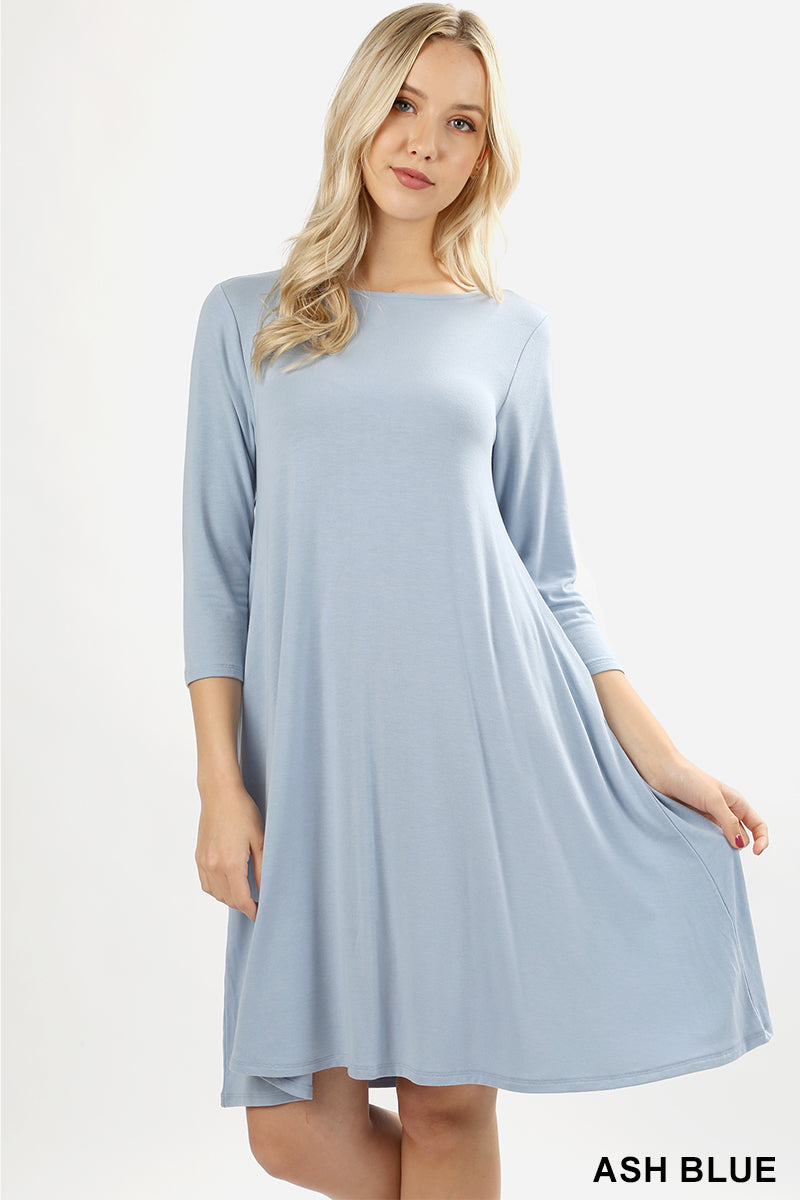 PREMIUM FABRIC 3/4 SLEEVE FLARE DRESS WITH POCKETS