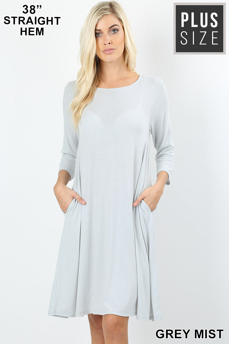 PLUS PREMIUM FABRIC 3/4 SLEEVE FLARE DRESS WITH SIDE POCKETS - Zenana Outfitters Women's Clothing