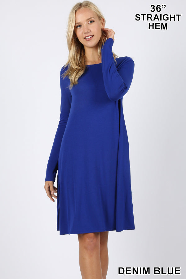 PREMIUM LONG SLEEVE FLARE DRESS WITH POCKETS