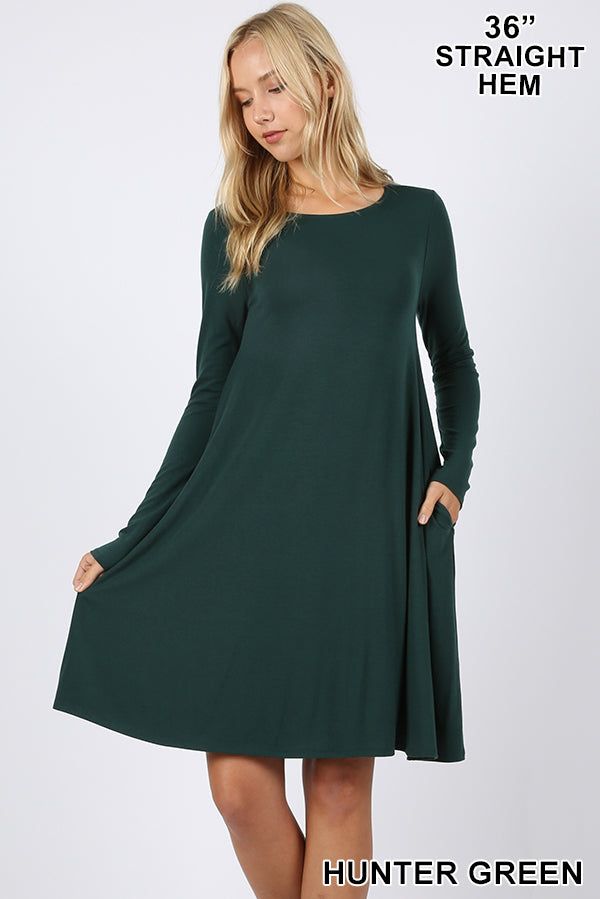 PREMIUM LONG SLEEVE FLARE DRESS WITH POCKETS - Zenana Outfitters Women's Clothing