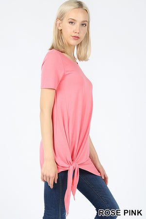 SHORT SLEEVE ASYMMETRICAL TIE SHARK BITE HEM TOP - Zenana Outfitters Women's Clothing