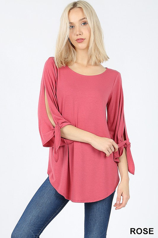 SPLIT SELF TIE HALF SLEEVE  ROUND NECK & HEM TOP - Zenana Outfitters Women's Clothing