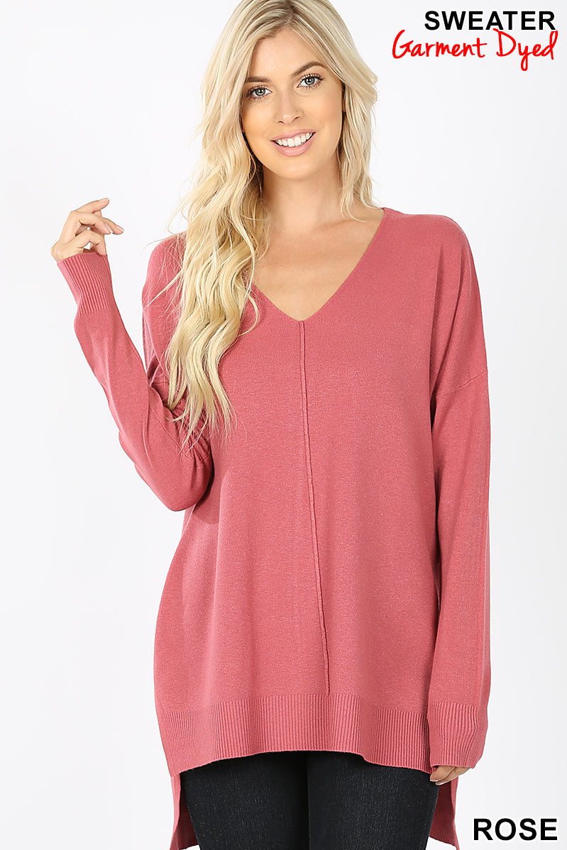 HI-LOW HEM V-NECK CENTER SEAM SWEATER - Zenana Outfitters Women's Clothing