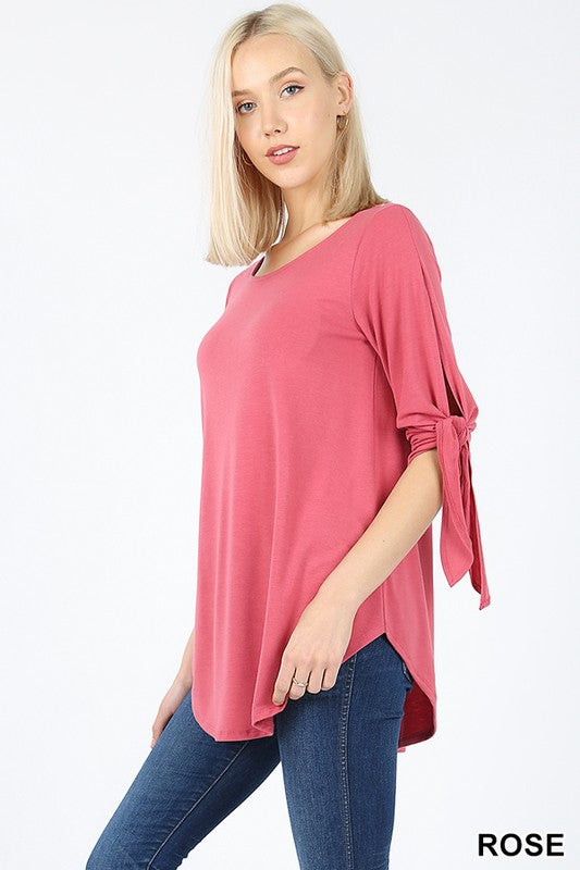 SPLIT SELF TIE HALF SLEEVE  ROUND NECK & HEM TOP | Zenana Outfitters