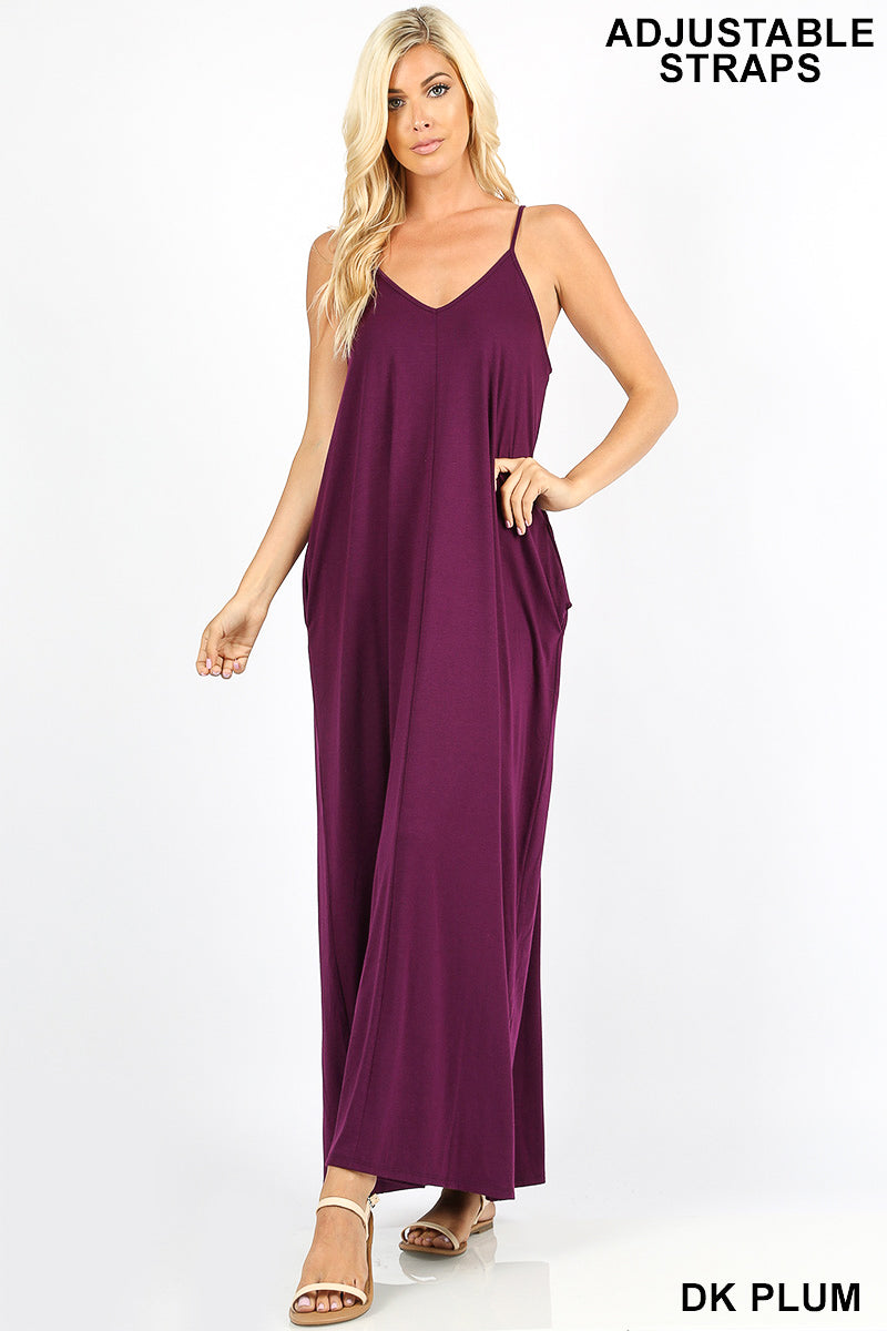 PREMIUM FABRIC V-NECK CAMI MAXI DRESS WITH SIDE POCKETS - Zenana Outfitters Women's Clothing