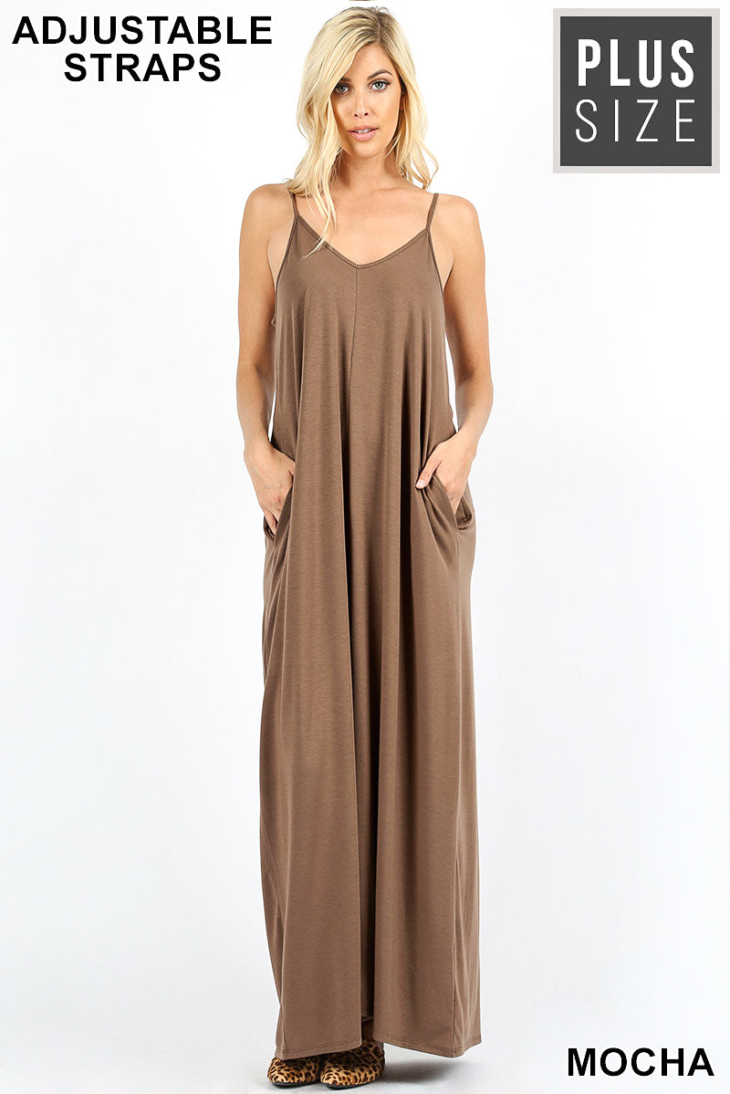 PLUS V-NECK CAMI MAXI DRESS WITH SIDE POCKETS