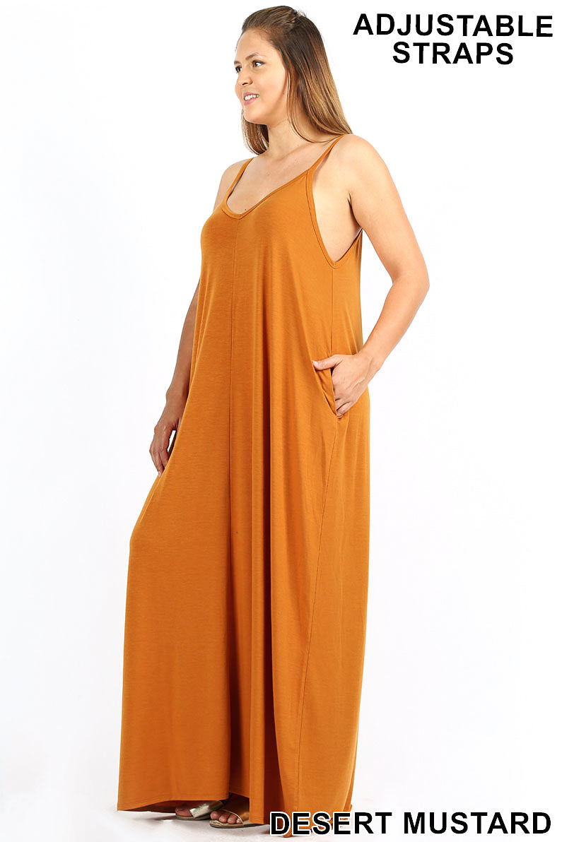 b8c6adbe8f1 PLUS V-NECK CAMI MAXI DRESS WITH SIDE POCKETS - Zenana Outfitters Women s  Clothing