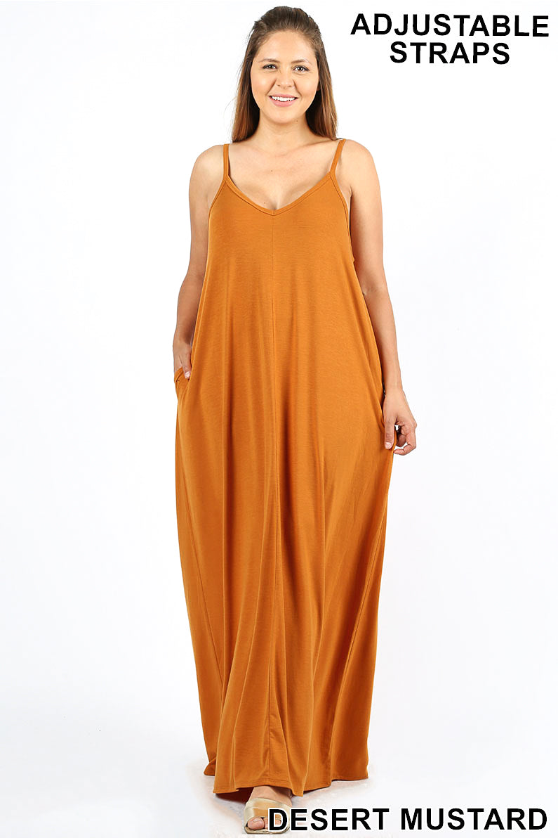 1ca321cdcf PLUS V-NECK CAMI MAXI DRESS WITH SIDE POCKETS - Zenana Outfitters Women s  Clothing