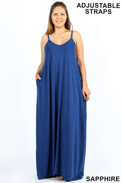 9003f443023 ... PLUS V-NECK CAMI MAXI DRESS WITH SIDE POCKETS - Zenana Outfitters  Women s Clothing ...