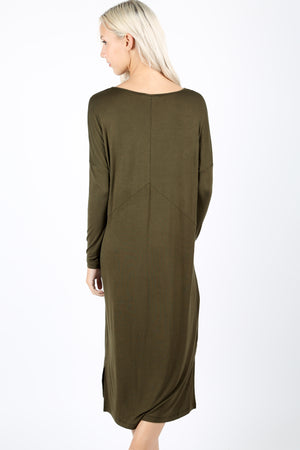 RAYON BOAT NECK DROP SHOULDER LONG SLEEVE  MIDI DRESS - Zenana Outfitters Women's Clothing