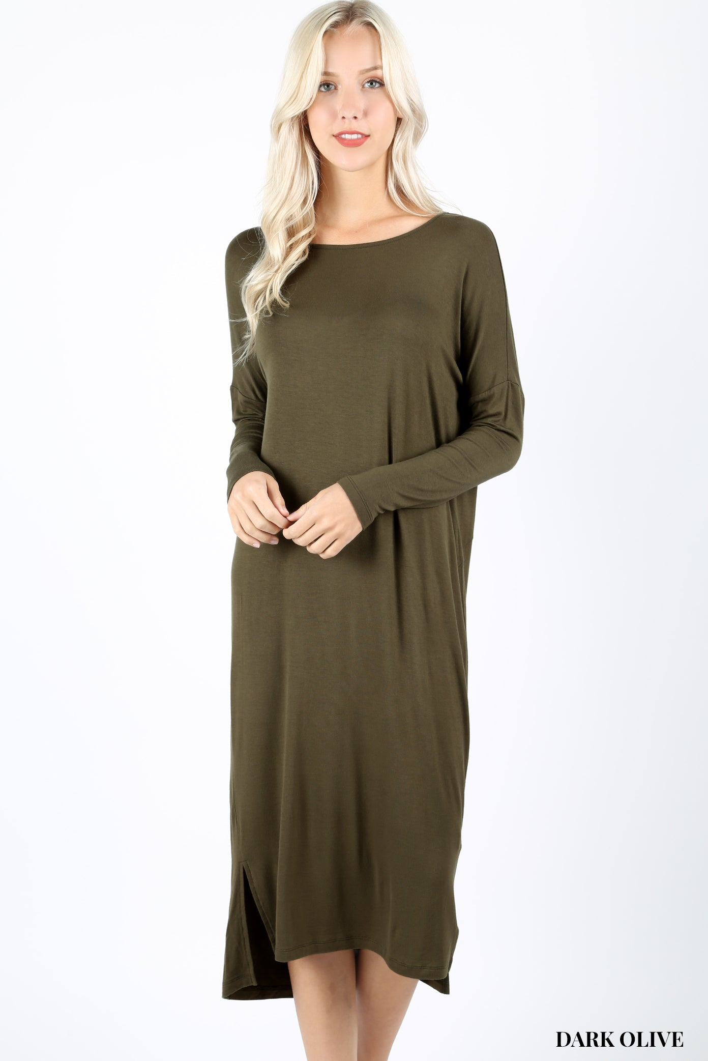 RAYON BOAT NECK DROP SHOULDER LONG SLEEVE  MIDI DRESS