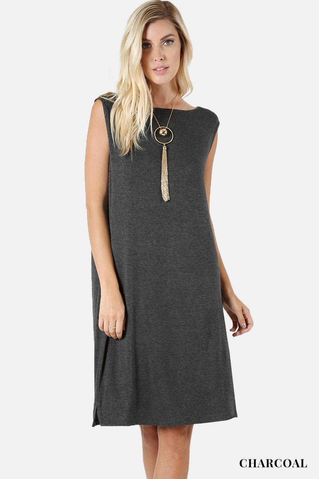 PREMIUM RAYON COMFY FIT KNEE LENGTH TANK DRESS