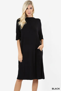 PREMIUM RAYON ELBOW SLEEVE MOCK NECK DRESS - Zenana Outfitters Women's Clothing