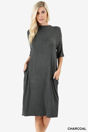 PREMIUM RAYON ELBOW SLEEVE MOCK NECK DRESS
