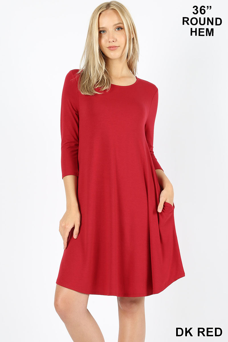 336d12aa5eb7b PREMIUM 3 4 SLEEVE ROUND HEM A-LINE DRESS - Zenana Outfitters Women s  Clothing