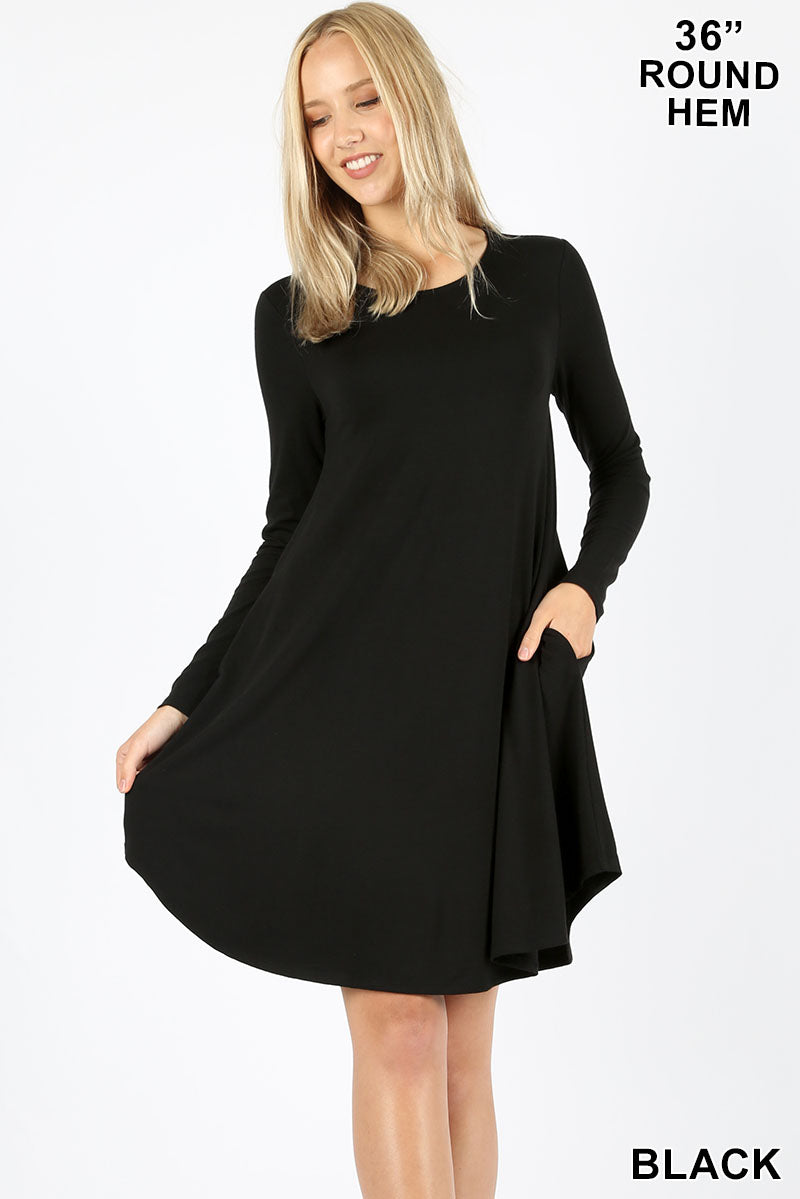 LONG SLEEVE ROUND HEM A-LINE DRESS - POCKETS