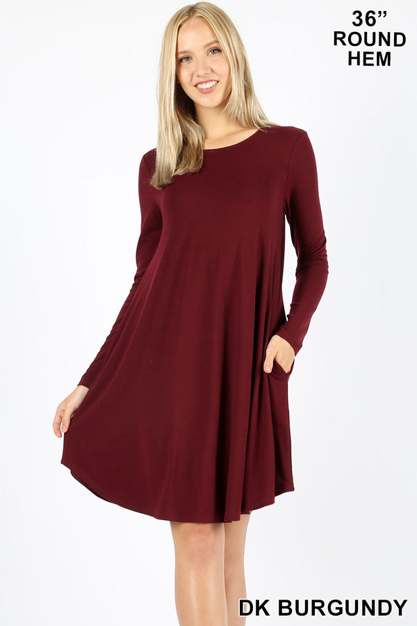 LONG SLEEVE ROUND HEM A-LINE DRESS - POCKETS - Zenana Outfitters Women's Clothing