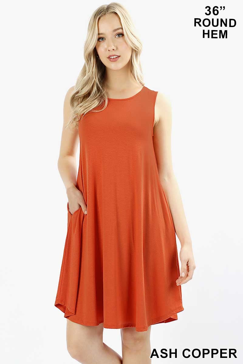 PREMIUM FABRIC SLEEVELESS ROUND HEM SWING DRESS - Zenana Outfitters Women's Clothing