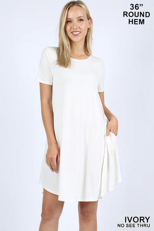 SHORT SLEEVE ROUND HEM POCKET DRESS - Zenana Outfitters Women's Clothing
