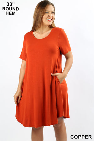 PLUS SHORT SLEEVE ROUND HEM POCKET DRESS