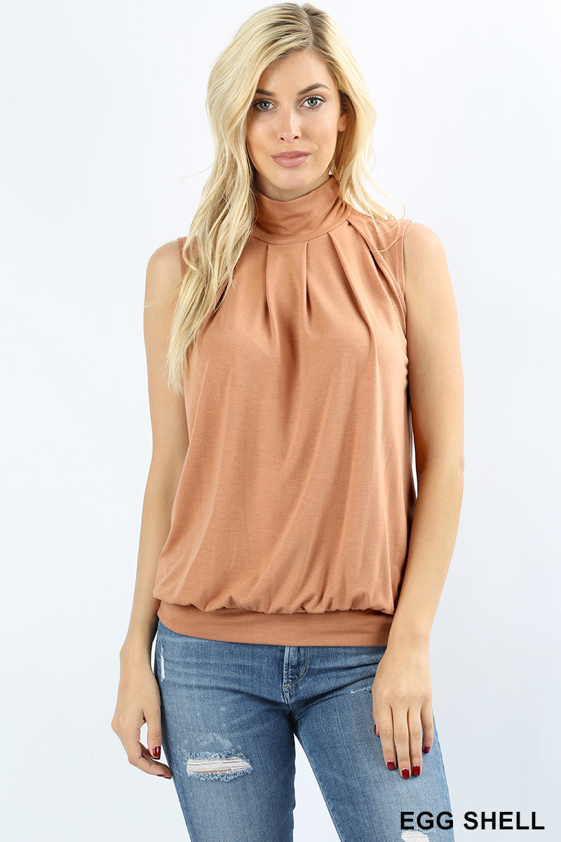 HIGH NECK PLEATED TOP WITH WAISTBAND - Zenana Outfitters Women's Clothing