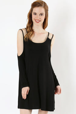 DOUBLE SHOUDER STRAP COLD SHOULDER TOP - Zenana Outfitters Women's Clothing