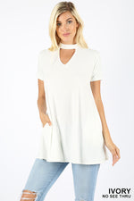 PREMIUM FABRIC SHORT SLEEVE CHOKER NECK TOP - Zenana Outfitters Women's Clothing