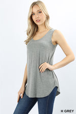 PREMIUM RAYON SLEEVELESS ROUND HEM TOP