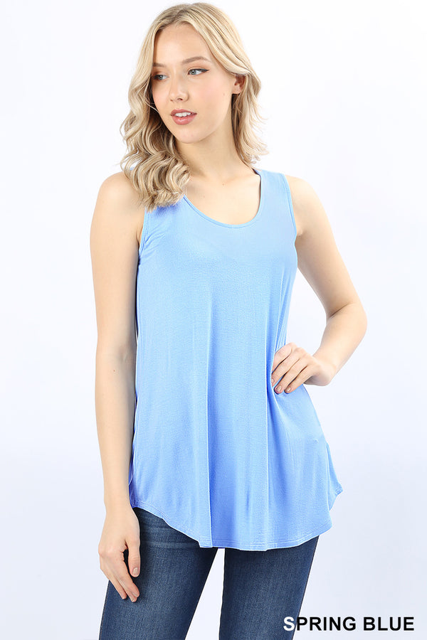 PREMIUM RAYON SLEEVELESS DOLPHIN HEM TOP - Zenana Outfitters Women's Clothing
