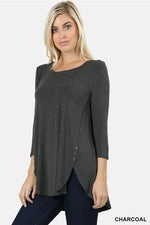 PREMIUM RAYON 3/4 SLEEVE WITH SIDE BUTTON TOP - Zenana Outfitters Women's Clothing