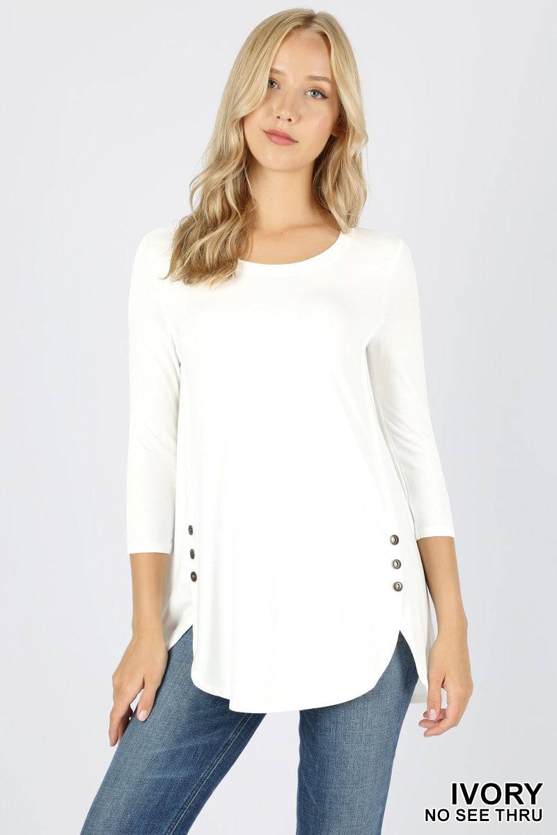 PREMIUM RAYON 3/4 SLEEVE WITH SIDE BUTTON TOP