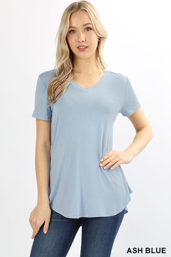 PREMIUM RAYON SHORT SLEEVE ROUND HEM V-NECK TOP - Zenana Outfitters Women's Clothing