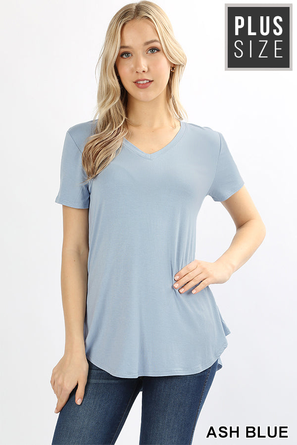 PLUS PREMIUM RAYON SHORT SLEEVE ROUND HEM V-NECK TOP - Zenana Outfitters Women's Clothing