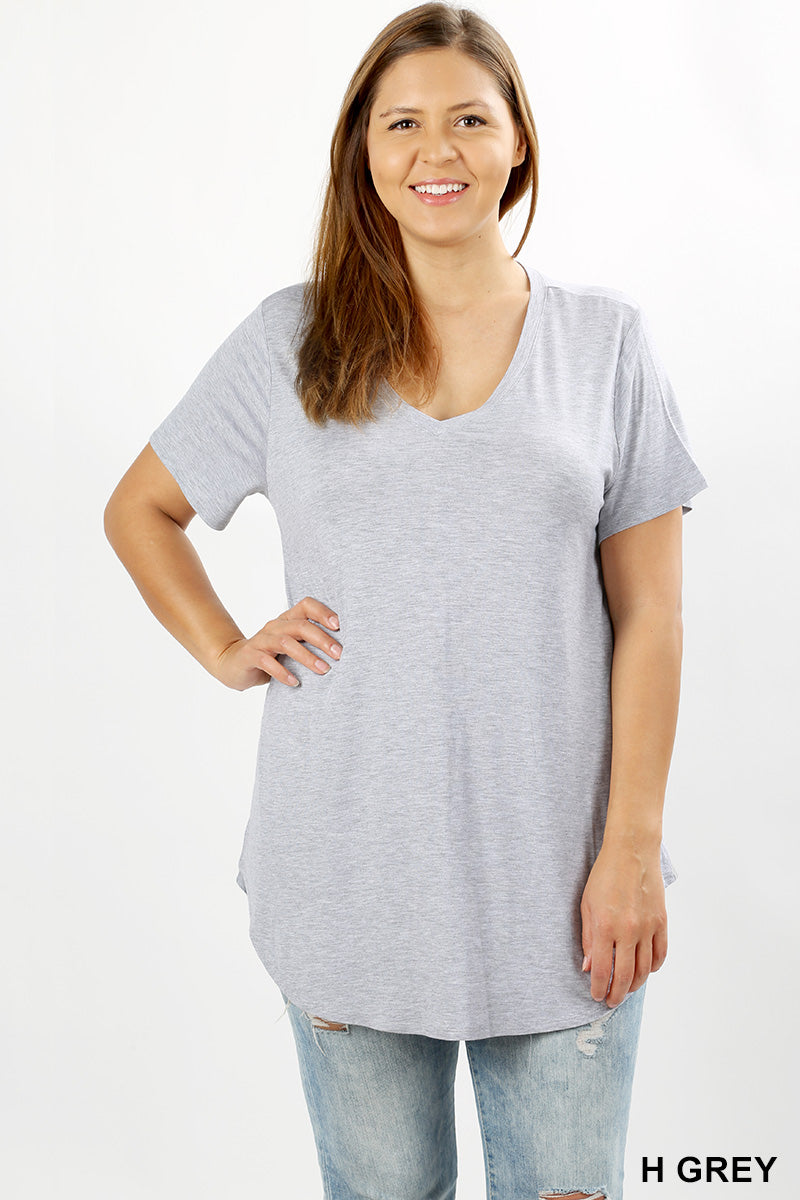 PLUS RAYON SHORT SLEEVE ROUND HEM V-NECK TOP - Zenana Outfitters Women's Clothing