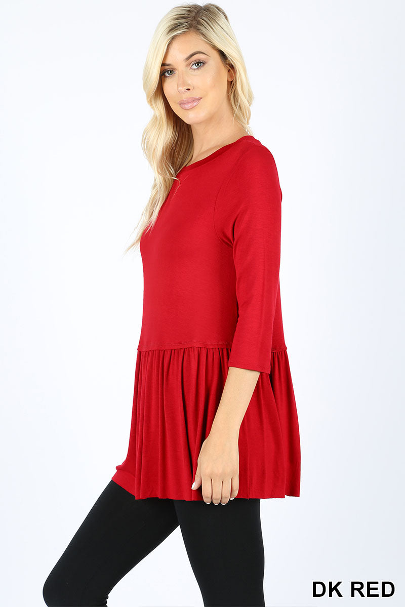 RAYON RUFFLE BOTTOM 3/4 SLEEVE TOP - Zenana Outfitters Women's Clothing