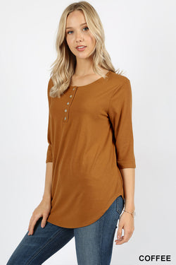 PREMIUM 3/4 SLEEVE DOLPHIN HEM SHELL BUTTON TOP - Zenana Outfitters Women's Clothing